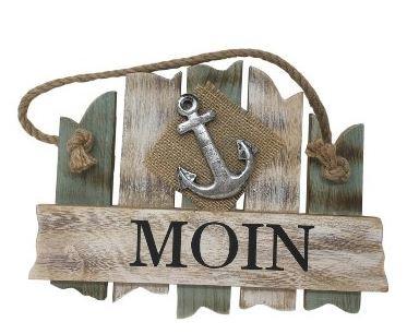 Holz-Schild mit Anker 27x18 cm Moin grün vintage