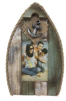 Holz-Bilderrahmen mit Anker in Bootsform 21 cm grün vintage