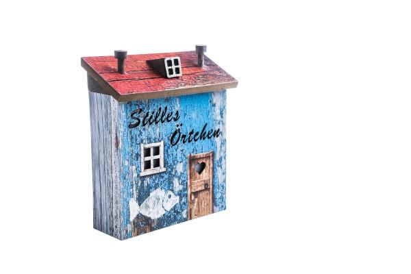 Holz-Lichthaus Shabby blau - Stilles Örtchen