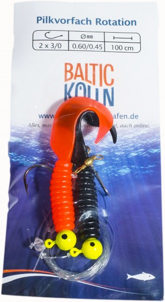 Baltic Rotations-Pilkvorfach, 2 Beifänger rot & schwarz