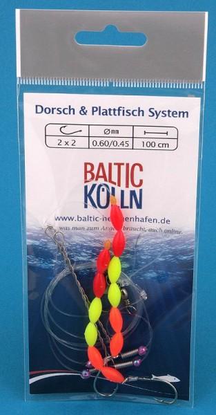 Dorsch und Plattfischsystem 2 Haken, Perlen orange/gelb/rot
