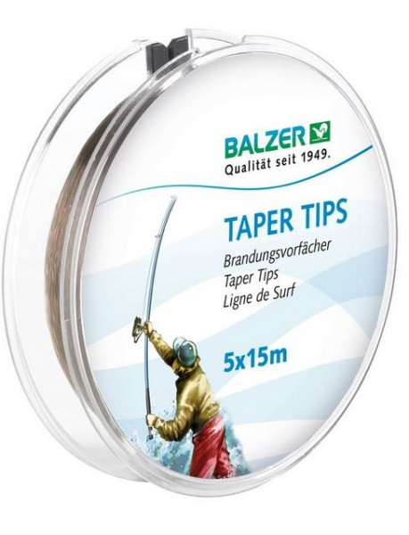 Tapertips, 5 Schnur-Keulen a 15m verjüngend von 0,58mm auf....