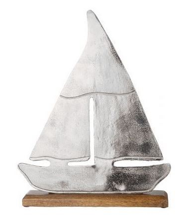 Alu Schiff auf Base 25x5x31 cm