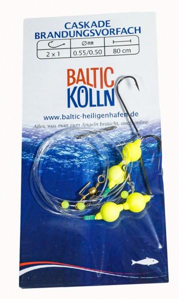 Baltic Caskade Brandungsvorfach 2 Haken Auftriebsperlen gelb