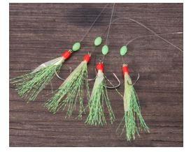Heringsvorfach Fischhaut grün Glitter mit Circle Hook 4 Haken