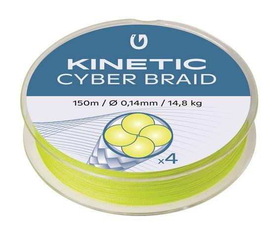 Kinetic 4 Braid Fluo Yellow 150m SB, 4-fach geflochtene Schnur