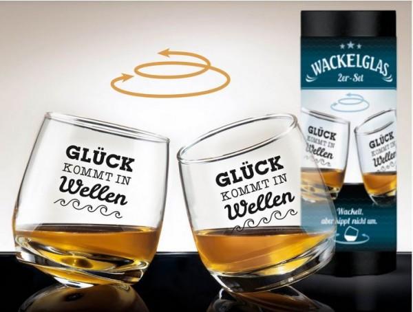 Glas Wackelglas Glück 2er Set H. 8,5cm, Durchmesser 7,5cm