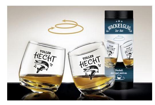 Glas Wackelglas Hecht 2er Set H:8,5cm, Durchmesser 7,5cm
