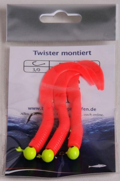 Jigs, 3 Stk SB, fertig montiert mit Twisterschwänzen rot